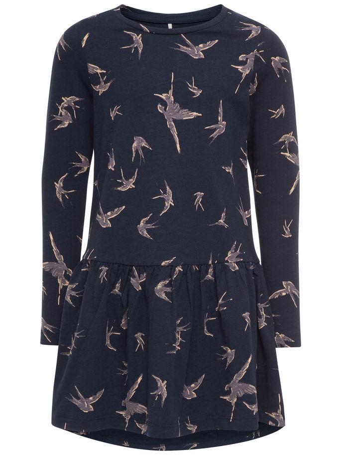 Barnekjole fra Name It, mørk blå kjole med fugler