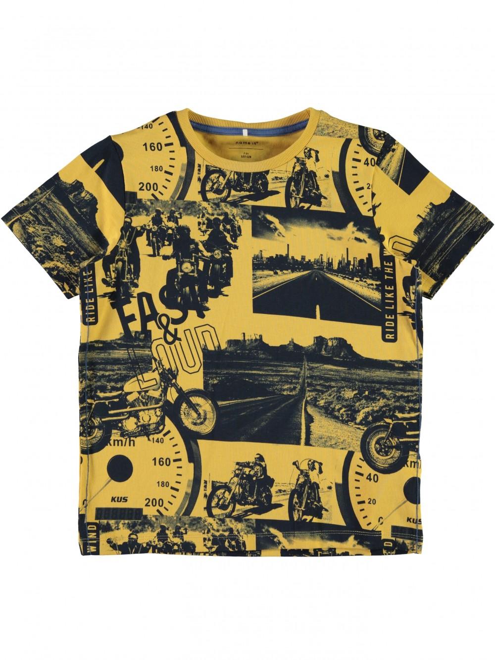 fa163bf4 T-skjorter Gul og sort t-skjorte med motorsykler – Mio Trend