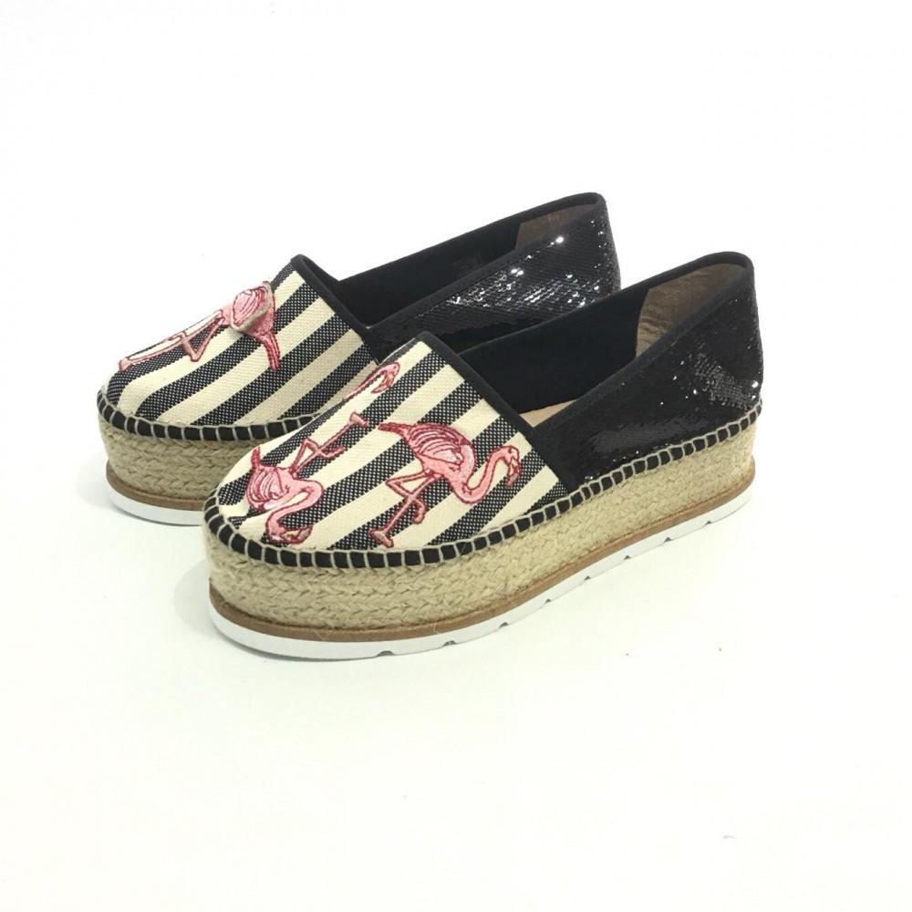 fd4bc4e8 Gaimo sko, sort espadrillos med rosa pelikan, platåsåle