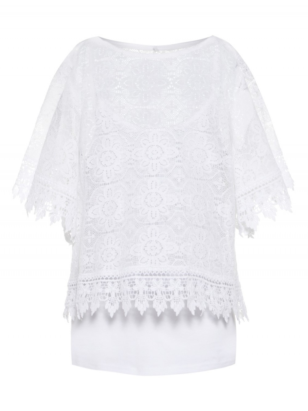 b74f107a T-skjorter Hvit blondetopp med korte armer – Mio Trend