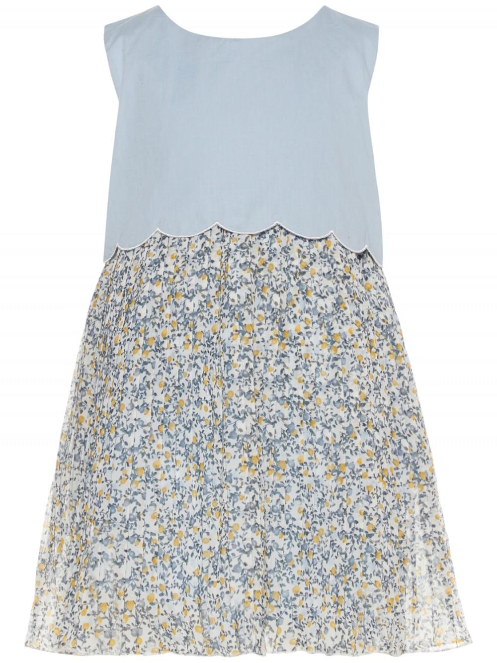 9762110d Lyse blå kjole til jente, barn fra Name It, kjole med blomster