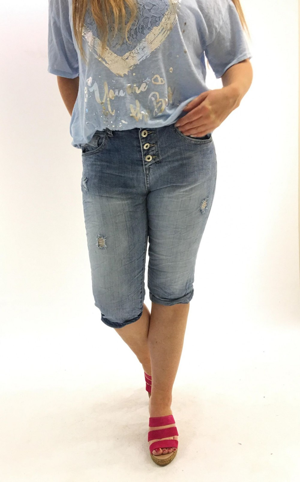 Pepper shorts, lys blå olashorts, caprishorts til dame
