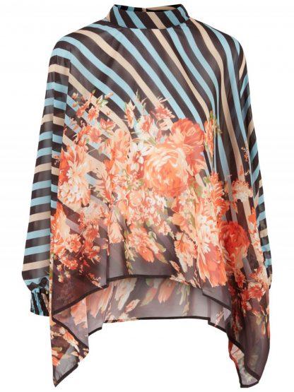 Y.A.S Bluse med blomster og striper, fra YAS – Mio Trend