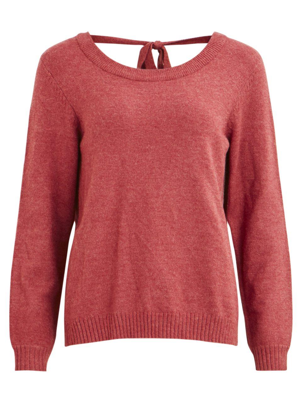 7bdfbfb6 Rød, rosa strikkegenser fra Vila, genser med åpen rygg, v-utrigning bak