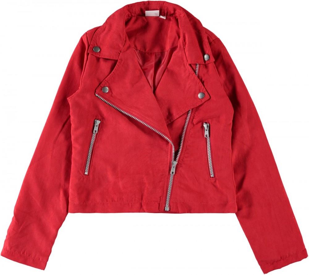 a2cb8989 Rød bikerjakke til barn, jente fra Name It