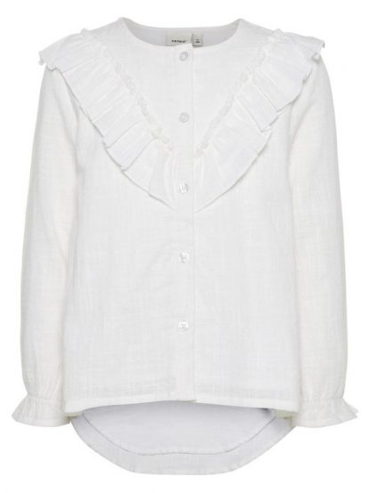 Name It Garsilla hvit bluse med rysjer – Mio Trend