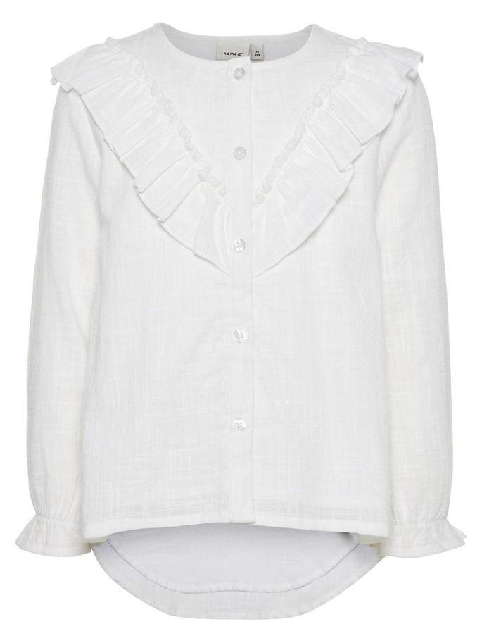 39912055 Bluse til barn, hvit bluse fra Name It med blonder og rysjer