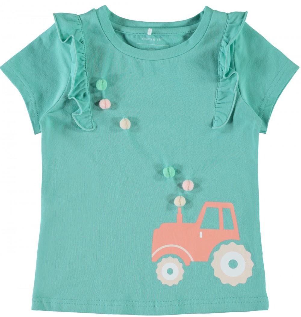 7f640fb9 Mintgrønn t-skjorte til barn med traktor, fra Name It