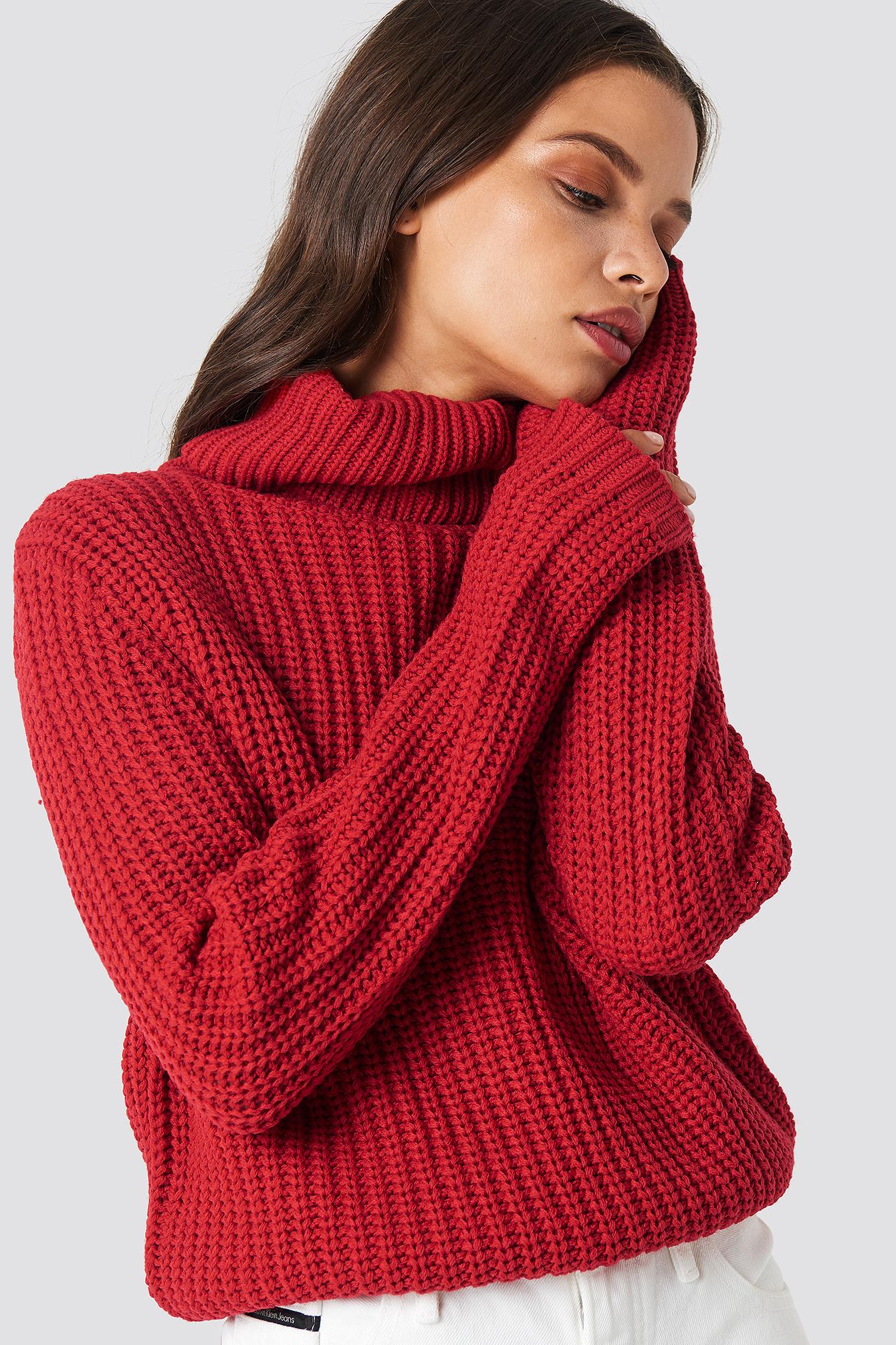 abca27c8 Genser med høy hals, rød strikkegenser fra Rut & Circle