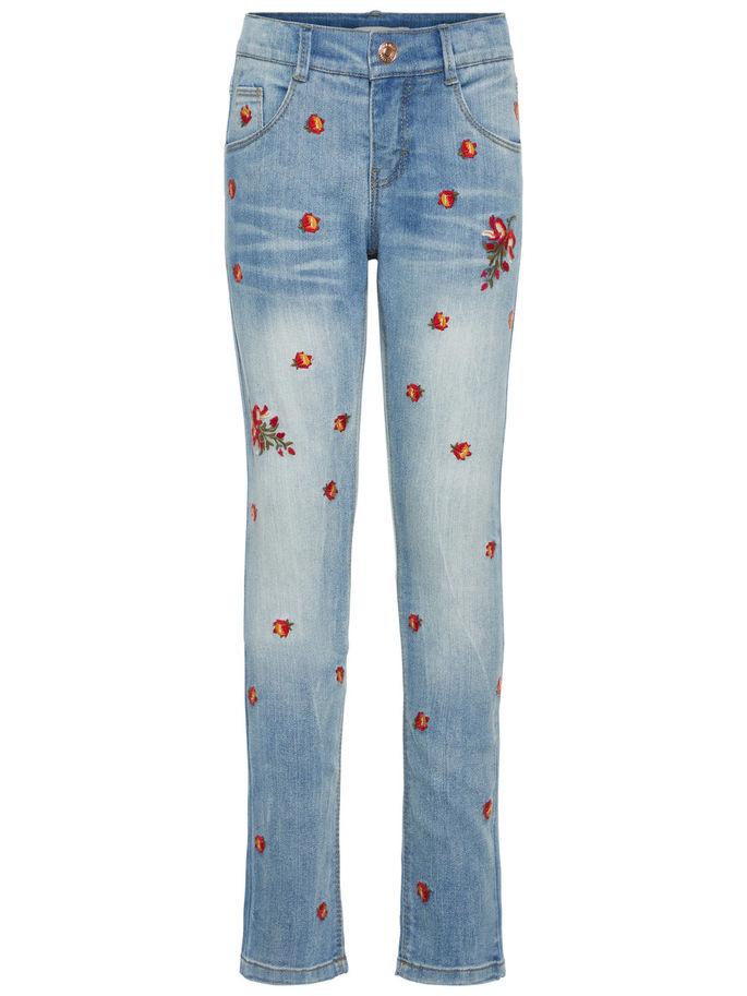 a2c38a5c Bukse til barn, jeans fra Name It, lyse blå olabukse med røde blomster