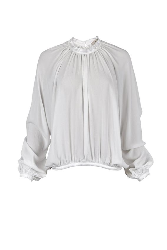 3b10f657 Bluse fra Rue de Femme, hvit bluse med knapper på ryggen, Karly bluse