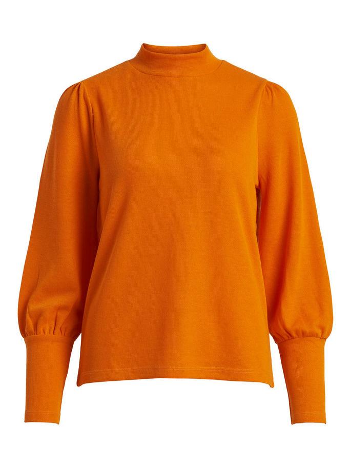 561ed9e50 Vila oransje genser med puffarmer, collegegenser fra Vila