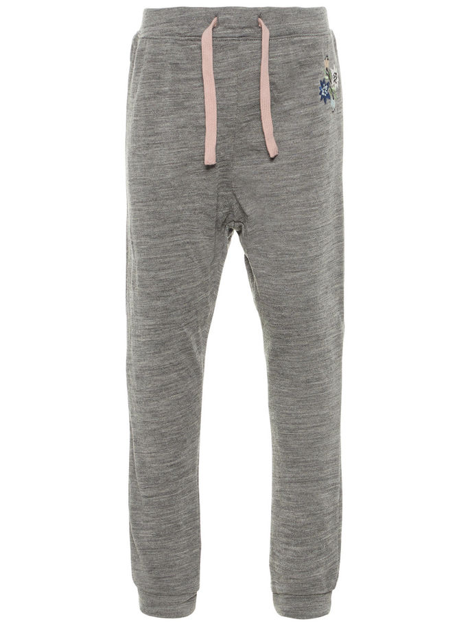4c4bf6a3 Name It ullbukse til jente, grå joggebukse i 100% merinoull, ulltøy ...