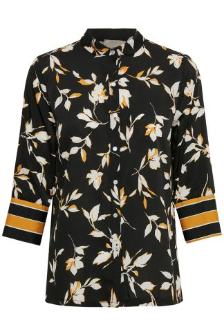 Sort bluse fra Educe, med blomster