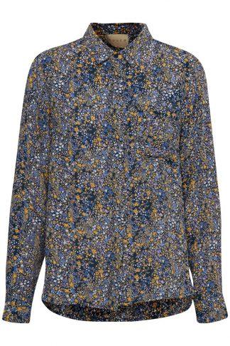 Educe blå bluse med blomster