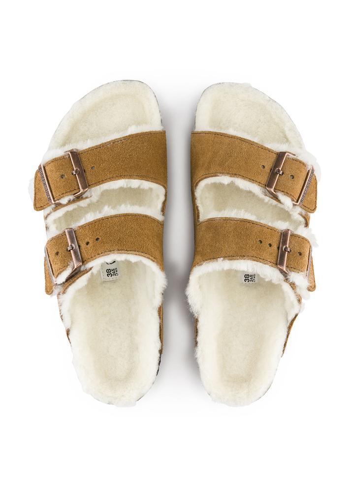 9db1f3ea Birkenstock sandaler med pels. Arizona i brun, mink farge med pels