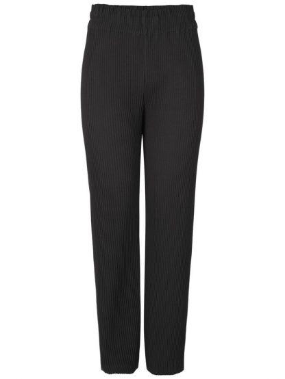 Bukse med høyt liv og vide bein – Y.A.S Alissa sort buks i plissè – Mio Trend