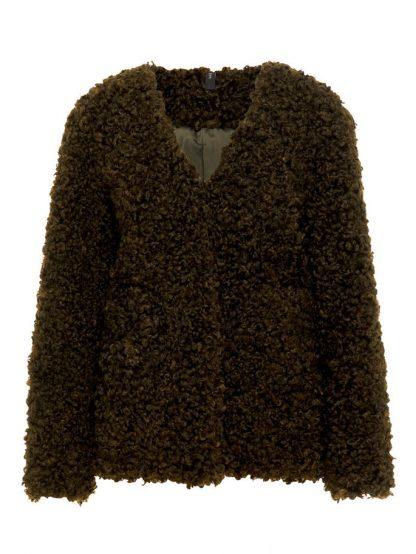 Grønn jakke i fuskepels – Y.A.S Bluebear grønn fuskepelsjakke  – Mio Trend