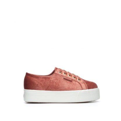 Superga sko i velour, oransje – Superga velvet corall sko – Mio Trend