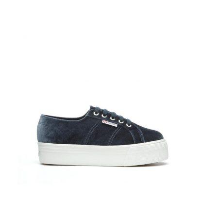 Superga sko i velour blå grå – Superga velvet grå sko – Mio Trend