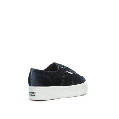 Superga sko i velour blå grå