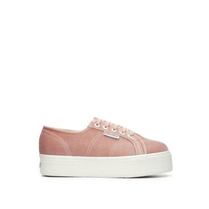 Superga sko i velour, rosa – Superga  velvet rosa sko – Mio Trend