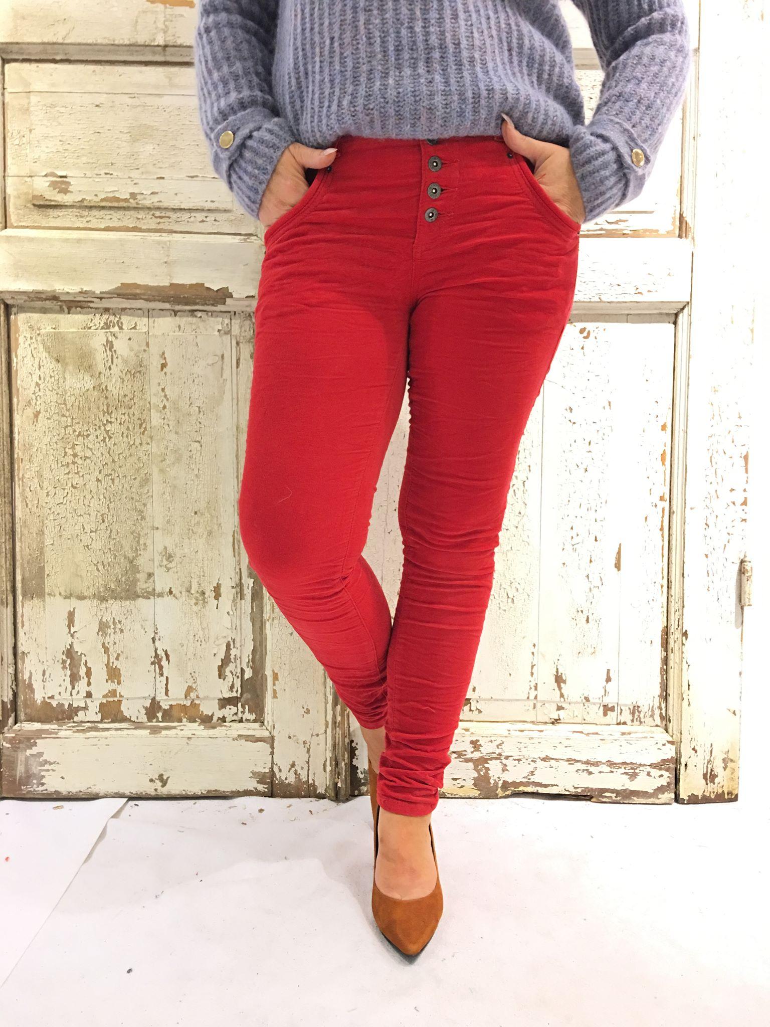 90e3d15d Bianco bukse i rød cord, rød bukse fra Bianco i velour, Biancobukse