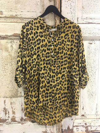 Pepper bluse i gul leopard
