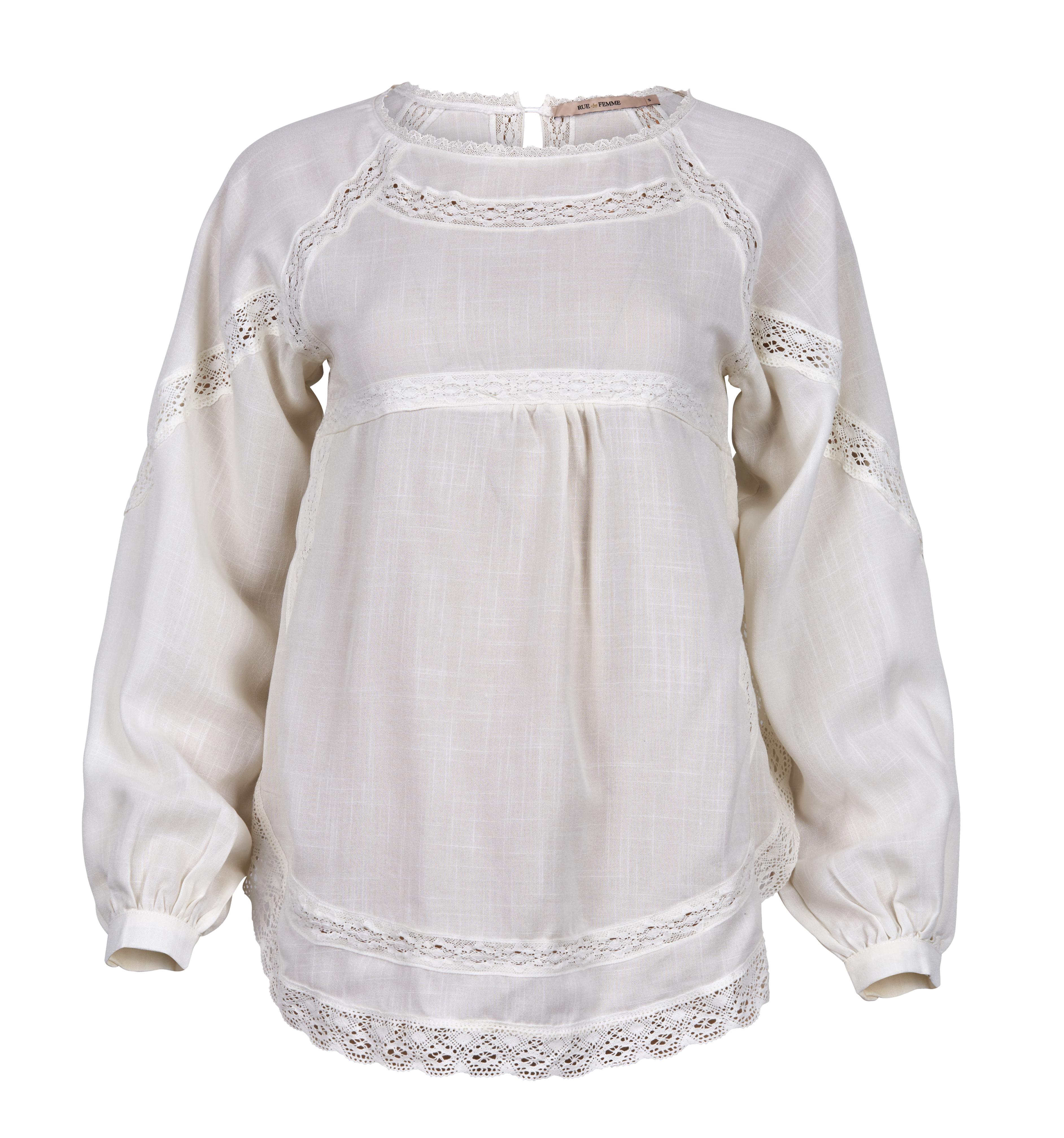 f6d17342 Bluse med blonder fra Rue de Femme – Rue de Femme off white bluse med  blonder