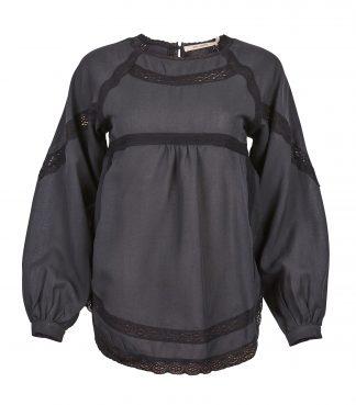 Sort bluse med blonder fra Rue de Femme
