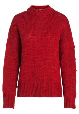 Rød genser med høy hals