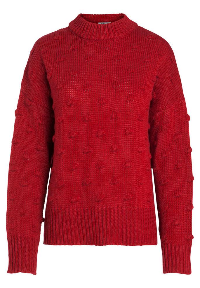 94c204bc Rød genser med høy hals, strikket rød genser fra Pieces, høyhalset ...