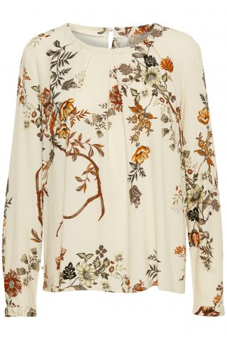 Educe off white bluse med blomster