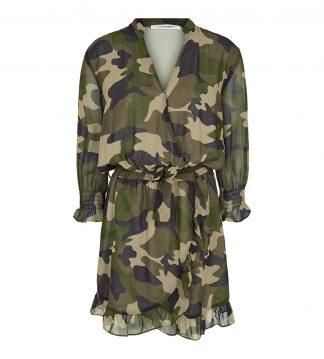 Wrap kjole i grønn camoflage