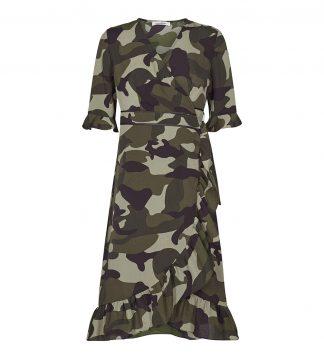 Kjole med omslag i camoflage
