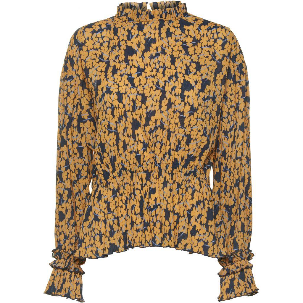 72d904012 Norr bluse med oransje blomster. Mørke blå og orandje topp med blomster