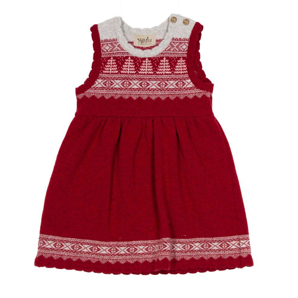 98a1b32b98e5 Memini rød strikkekjole i ull – MeMini rød ullkjole julekjole – Mio Trend