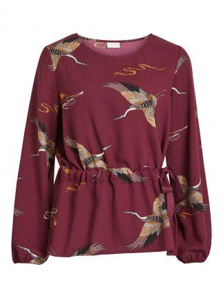 Vila burgunder bluse med fugler