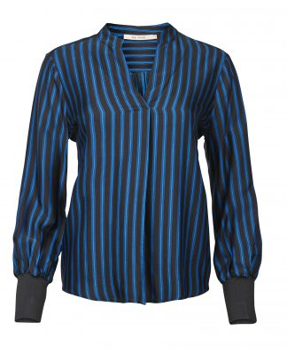 Sort bluse med blå striper