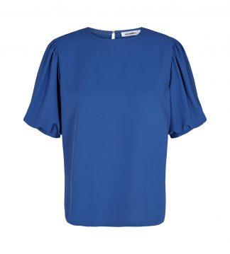 Blå bluse med kort armer