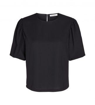Sort bluse med korte armer