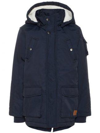 Blå vinterparkas