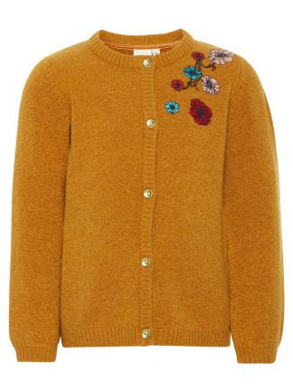 Okergul strikkejakke til barn