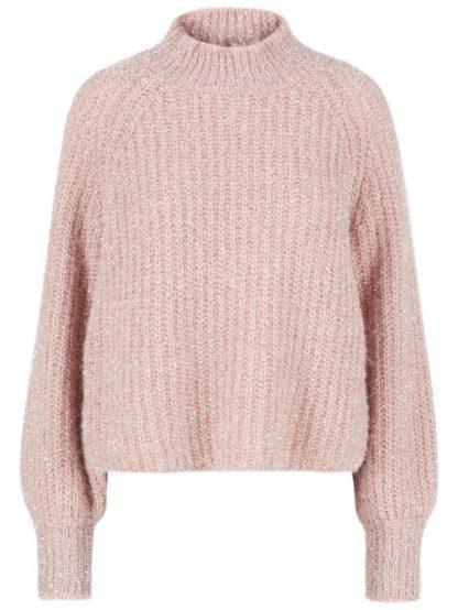 Kort rosa genser fra YAS – Y.A.S rosa genser med glitter – Mio Trend