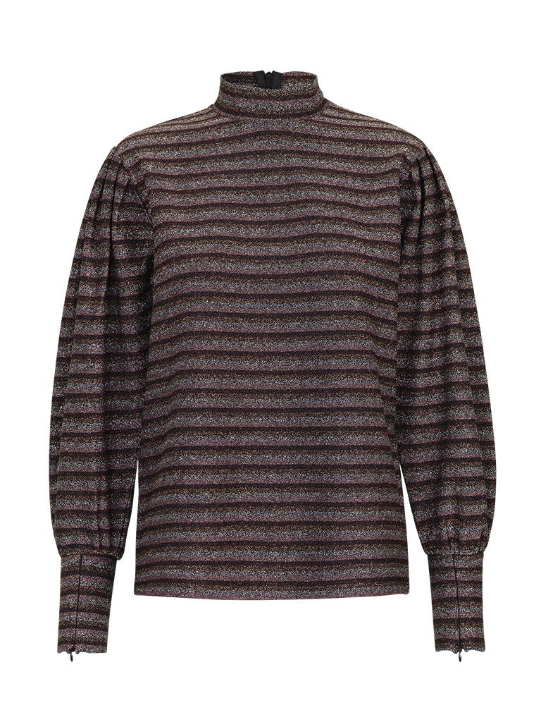 a577b5f9 Genser med glitter – Levete Room stripete burgunder topp med glitter – Mio  Trend