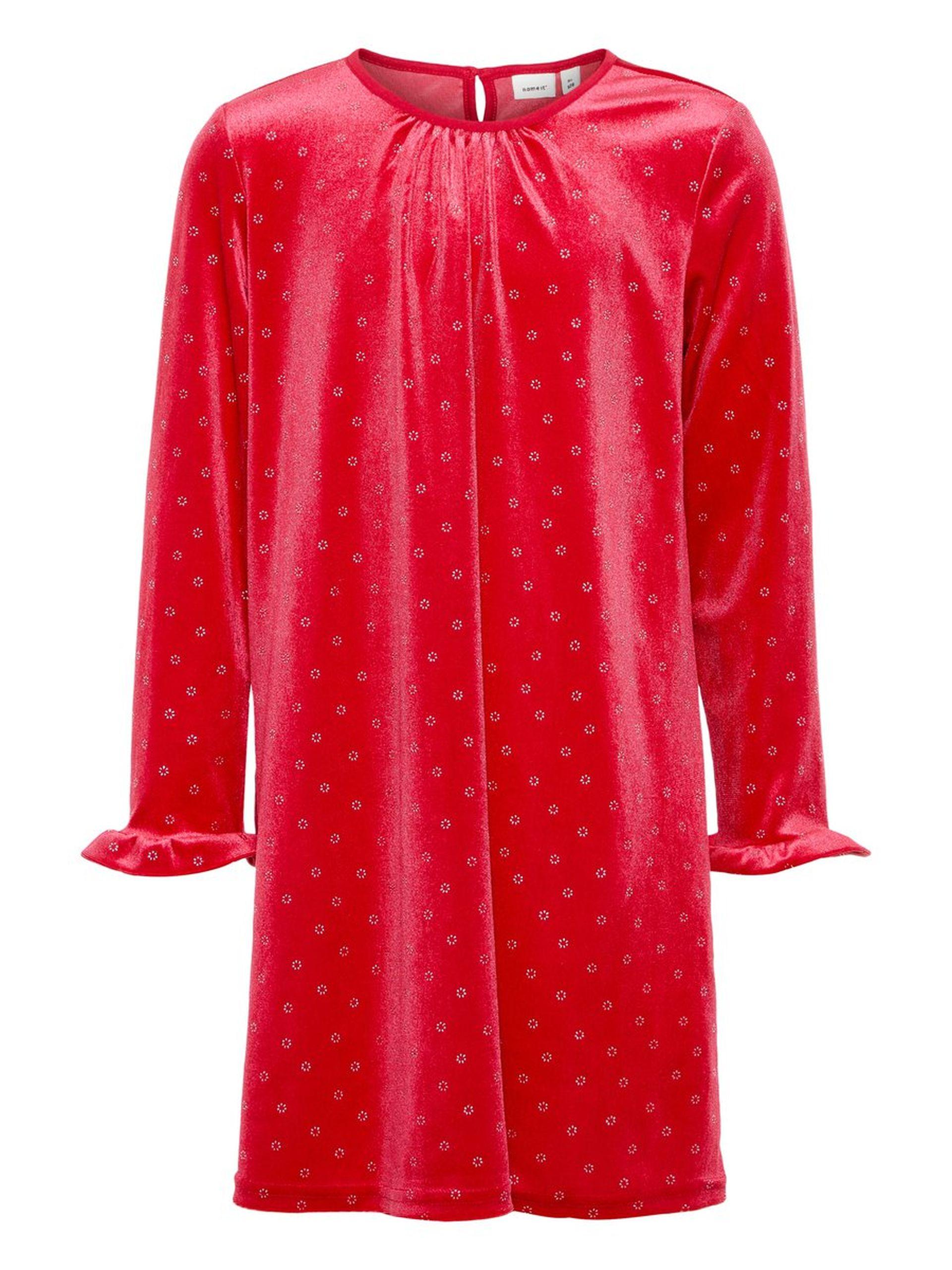 8eb0fe64 Name It rød julekjole i velur. Rød kjole til barn, julekjole med ...
