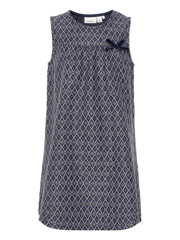 f1090636dfe3 Mørke blå julekjole til barn – Name It blå kjole med ruter og gull – Mio