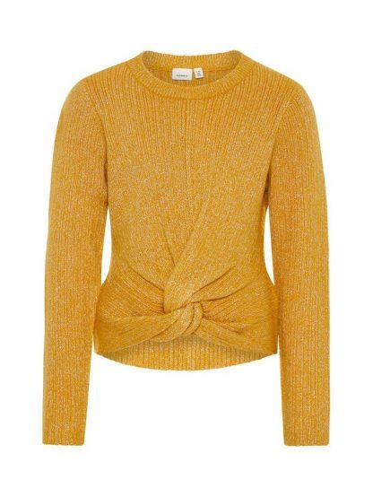 Name It gul strikkegenser – Name It gul strikkegenser med glitter – Mio Trend