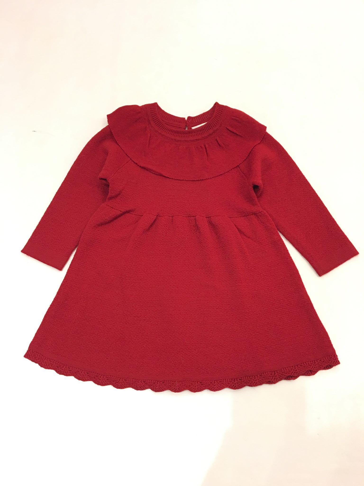 7da9131d Name It rød ullkjole til barn. Julekjole i ull, rød kjole i ull til ...