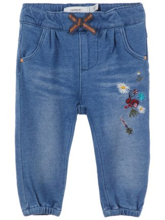Name It sweat denim bukse med blomster